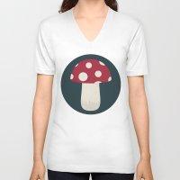 mushroom V-neck T-shirts featuring mushroom by Emma S
