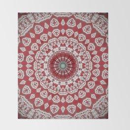Red White Bohemian Mandala Design Throw Blanket
