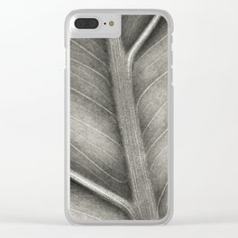 Macro photo of leaf. Black & white. Clear iPhone Case
