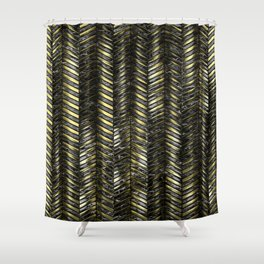 Alien Columns - Black and Gold Shower Curtain