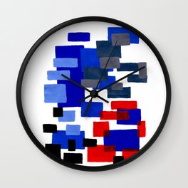 Modern Mid Century Abstract Geometric Cube Square Acrylic Painting Blue With Red Accents Wall Clock