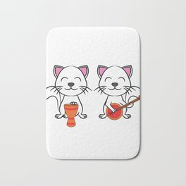 """A Cute Cat Tee For Animal And Music Lovers Saying """"Cats In Jazz"""" T-shirt Design Guitar Musician Bath Mat"""