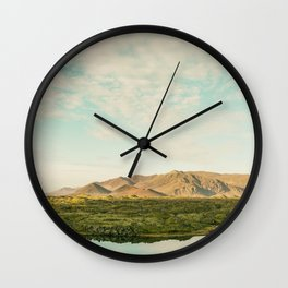 The lake by the mountains Wall Clock