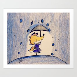 Fox in Rain Art Print