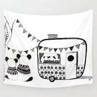 pandas Wall Tapestries featuring Camping Pandas by monicamarcov