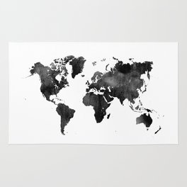 World Map | Black and White Watercolour Rug