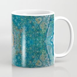 Blue Gold Star Mandala - Abstract Art by Fluid Nature Coffee Mug