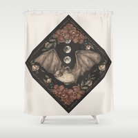 bat Shower Curtains featuring Bat  by Jessica Roux