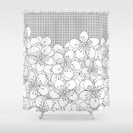 Cherry Blossom Grid - In Memory of Mackenzie Shower Curtain