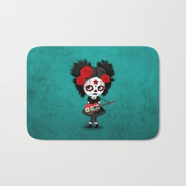 Day of the Dead Girl Playing Syrian Flag Guitar Bath Mat
