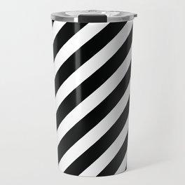 Modern Black & White Minimalist Diagonal Line Pattern Travel Mug