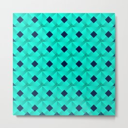 Graphic stylish pattern with dark squares and light blue rhombuses in a checkerboard pattern. Metal Print
