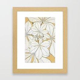 Beige Tan Leaf Vintage Pattern Framed Art Print