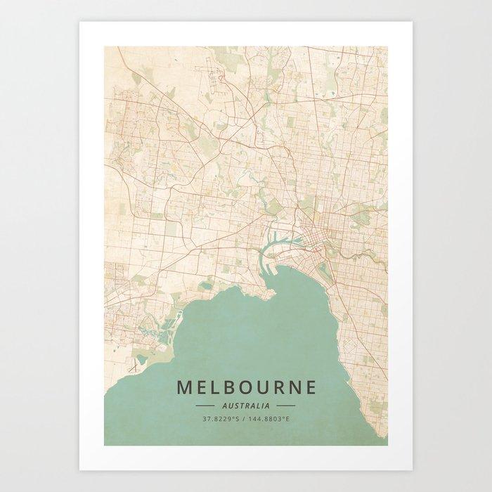 Melbourne, Australia - Vintage Map Kunstdrucke