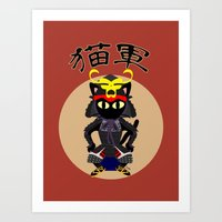 army Art Prints featuring Cat Army by BATKEI