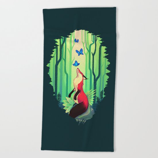 The Fox and the Butterflies Beach Towel