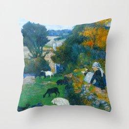 "Paul Gauguin ""La bergère bretonne (The Breton shepherdess)"" Throw Pillow"