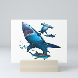 Shark Collage Mini Art Print