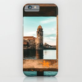 Picture Perfect | Teal and Orange Collioure France Medieval Church Tower Scenic View Marina iPhone Case