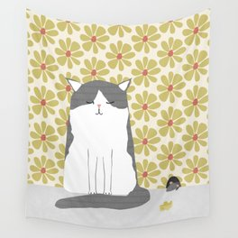 Cat and mouse illustration Wall Tapestry
