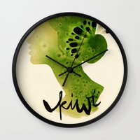 kiwi Wall Clocks featuring Kiwi by Ekaterina Koroleva
