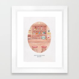 Haruki Murakami's Hear the Wind Sing // Illustration of a Japanese Bar in Watercolour and Pencil Framed Art Print