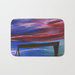 HARLAND AND WOLFF CRANES - Abstract Sky Oil Painting Bath Mat