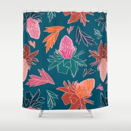 Tropical Ginger Plants in Coral + Teal Shower Curtain