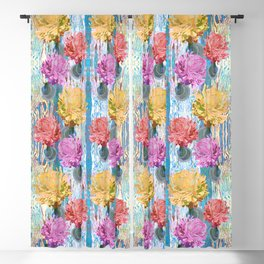 Trio of Peonies - Summer Pastels Blackout Curtain