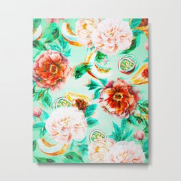 Tropical flowery fruit glitch Metal Print
