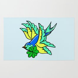 Swallow With Lucky Four Leaf Clover Rug