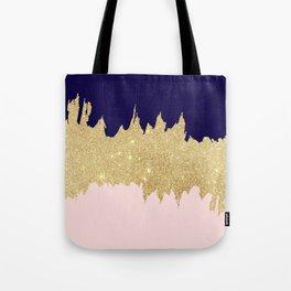 Modern navy blue blush pink gold glitter brushstrokes Tote Bag