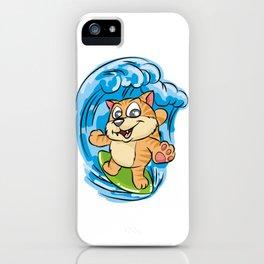 SURFING KITTY Cat Wave Surfboard Cartoon Comic iPhone Case