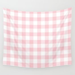 Large Valentine Soft Blush Pink and White Buffalo Check Plaid Wall Tapestry