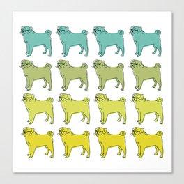 Smug pug club. Canvas Print