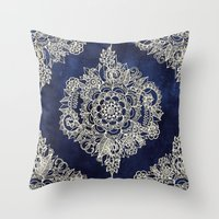 white Throw Pillows featuring Cream Floral Moroccan Pattern on Deep Indigo Ink by micklyn