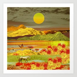 Yellow fields Art Print