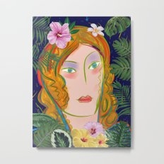 Pop Girl Portrait with Flowers and Leaves Decoration Metal Print