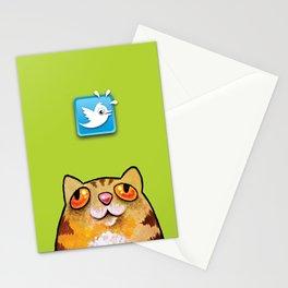 Cat love twitter bir green Stationery Cards