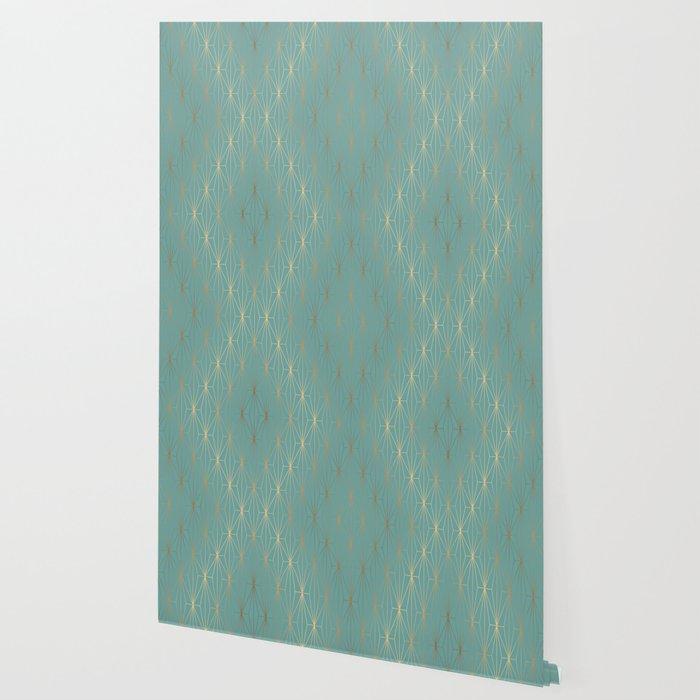 ELEGANT BLUE GOLD PATTERN v3 Wallpaper