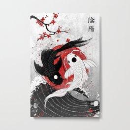 Koi fish - Yin Yang Metal Print