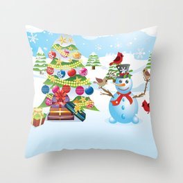 Snowman with Christmas Tree Throw Pillow