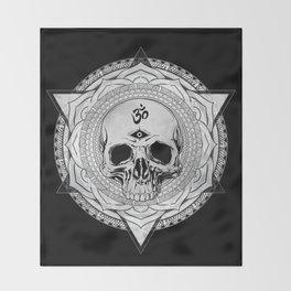 Life Touches The Seeker Ajna Skull Mandala Geometric Triangle Black Throw Blanket