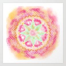 Hippie watercolor green pink boho orange mandala Art Print