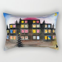 Christmas Building Painting Rectangular Pillow