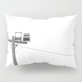 Travel photography street lamp at night black & white Pillow Sham