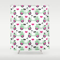 Italian vespa scooter illustrated pattern Shower Curtain