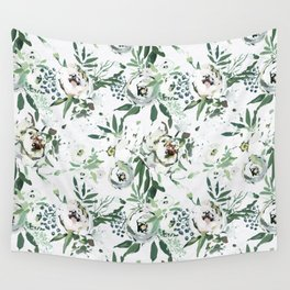 Pastel green pink ivory watercolor hand painted floral pattern Wall Tapestry
