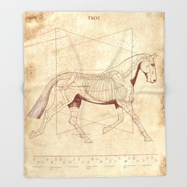 Da Vinci Horse: The Trot Revealed Throw Blanket