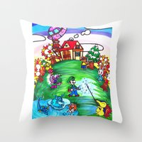 animal crossing Throw Pillows featuring Animal crossing invasioni  by Cristina Lunat Sugamele
